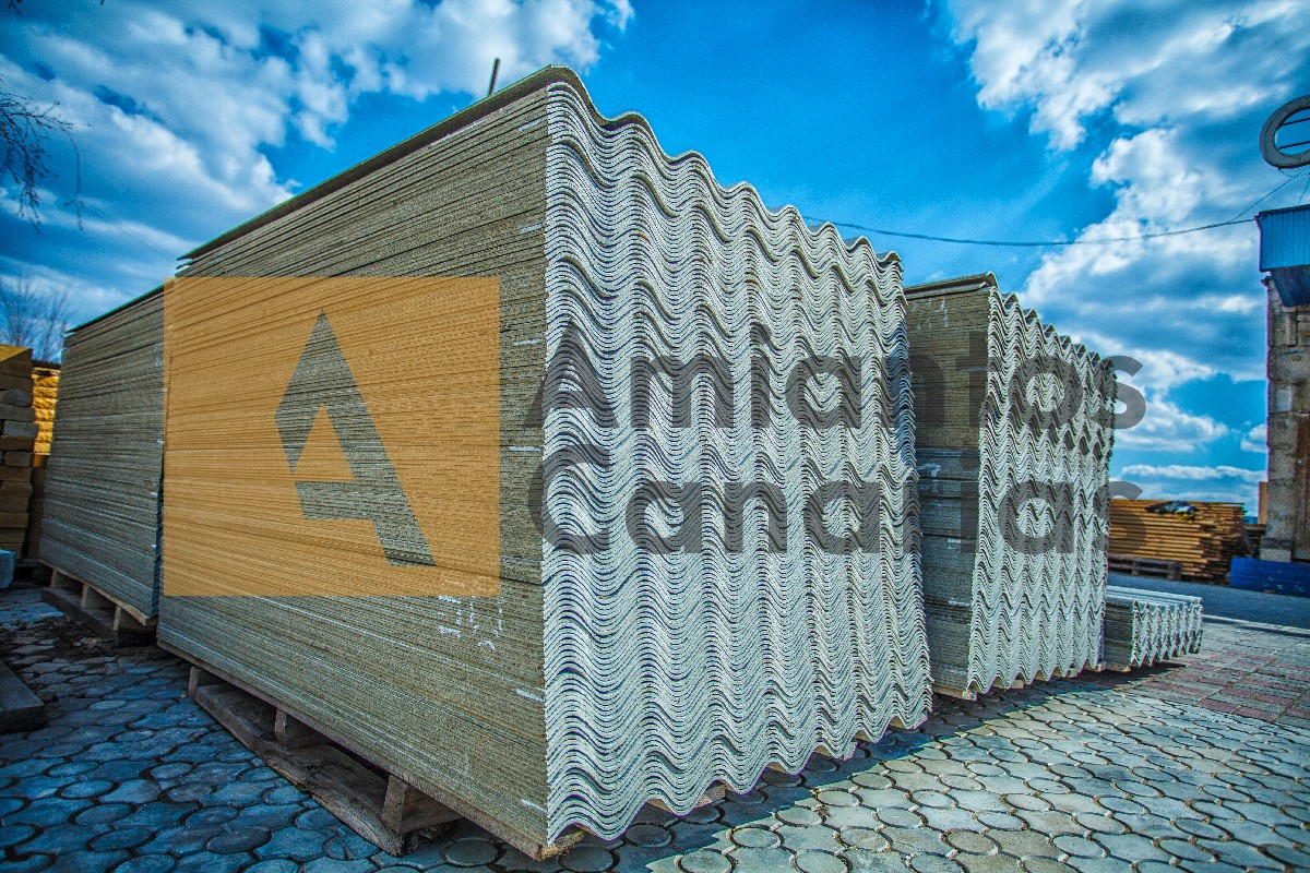 Asbestos roof. Asbestos cement roofing sheets, corrugated panels, stacked.